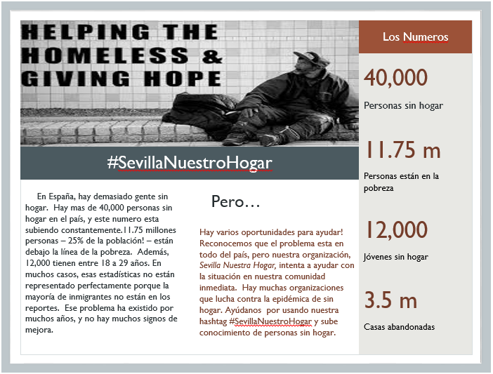 Spanish for social justice campaign: the homeless