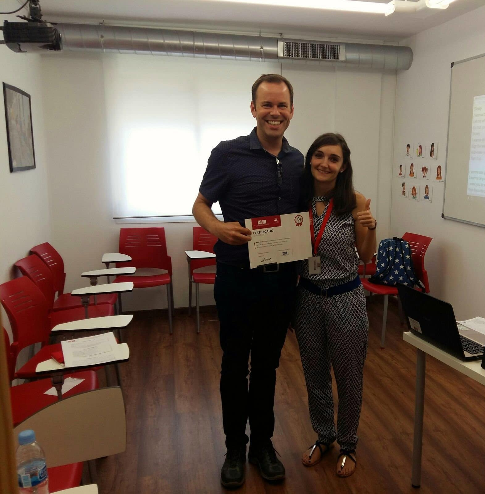 Boris with Lidia and his well-deserved certificate - private adult Spanish lessons