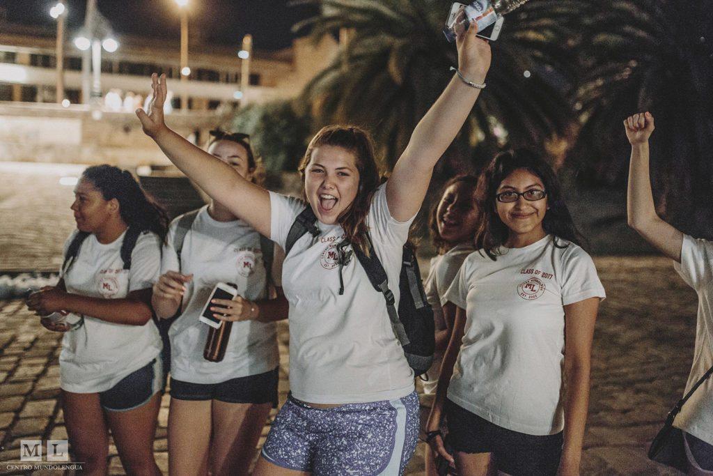 Barrington students during the night run activity