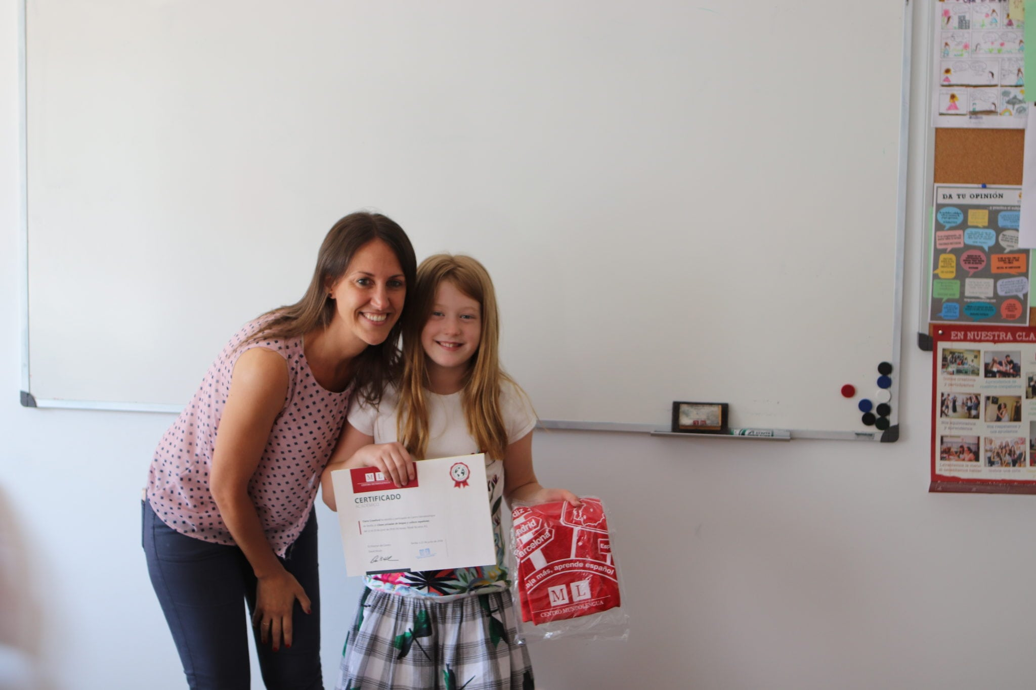 family Spanish class graduation