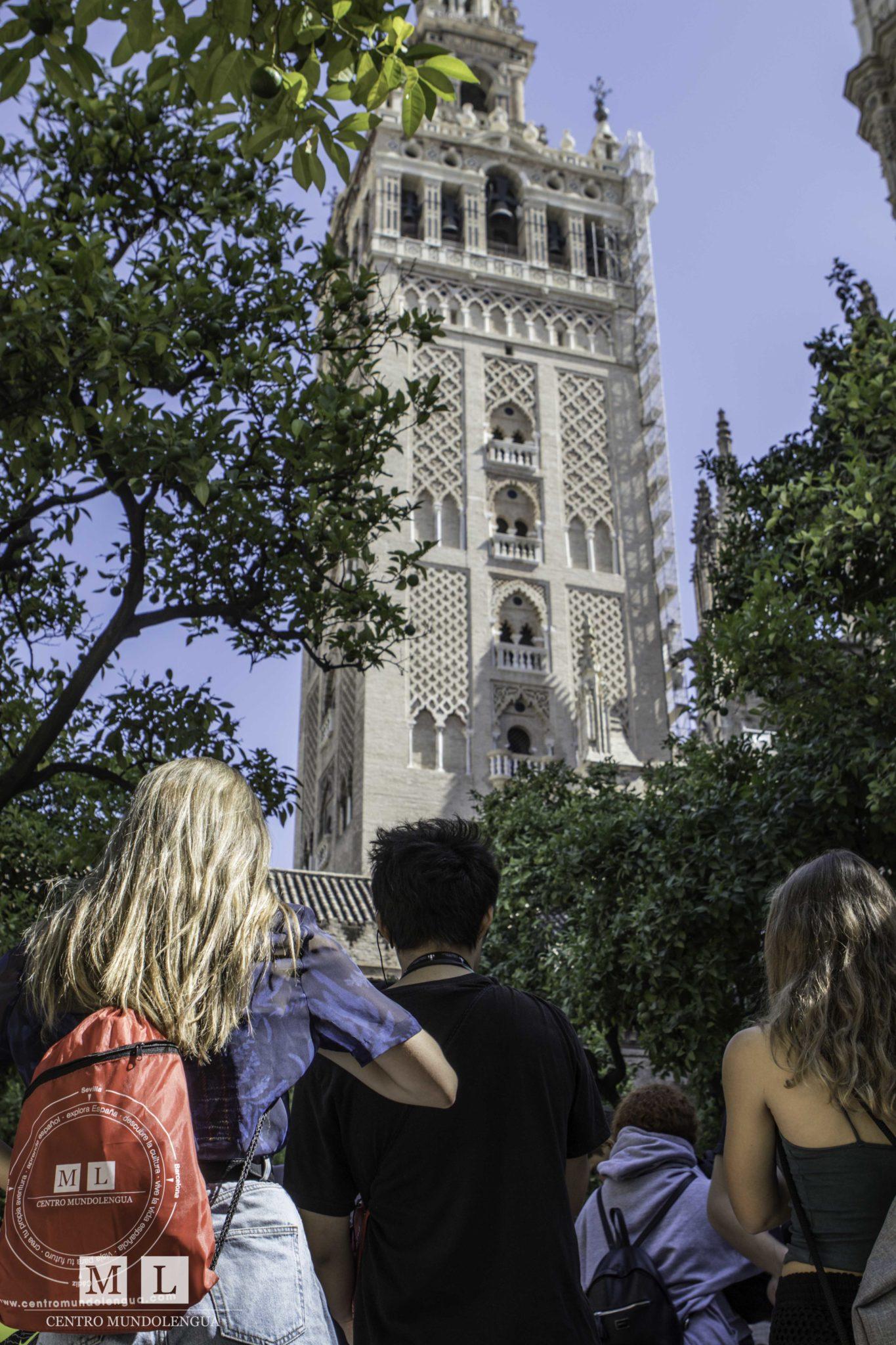 Teens who Study Abroad in Seville Teens outside la Giralda
