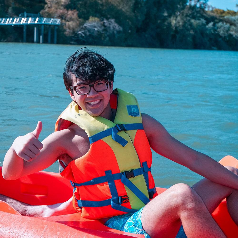 High school volunteers abroad activities: kayak on the River