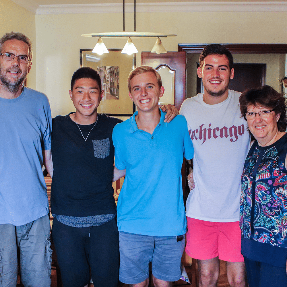 Pre AP Spanish language students with their family homestay in Sevilla, Spain